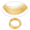 Wire, gold-finished stainless steel, 0.6-0.75mm thick, 2-1/4 inch inside diameter. Sold per 1-ounce pkg, approximately 50 loops.