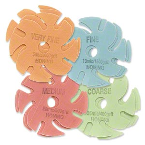abrasive disc, 3m™ trizact™, plastic, assorted colors, 400-3000 grit, 3-inch replacement disc for jooltool™. sold per pkg of 12.