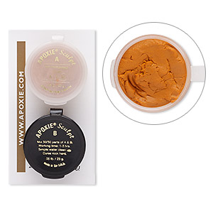 adhesive, apoxie sculpt, epoxy and polymer resin, orange. sold per 1/10 pound pkg.