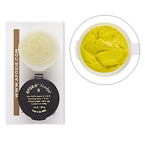 adhesive, apoxie sculpt, epoxy and polymer resin, yellow. sold per 1/10 pound pkg.