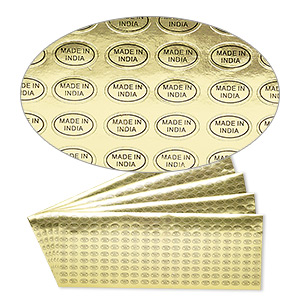 adhesive label, paper, gold and black, 1/2 x 5/16 inch oval with made in india. sold per pkg of 1,000.