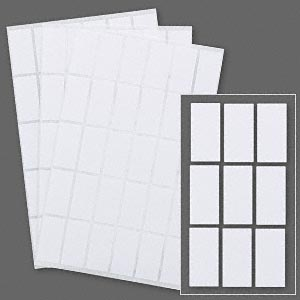 adhesive label, paper, white, 1 x 1/2 rectangle. sold per pkg of 1,020.