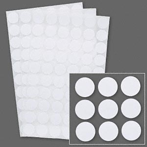 adhesive label, paper, white, 1/2 inch round. sold per pkg of 1,020.