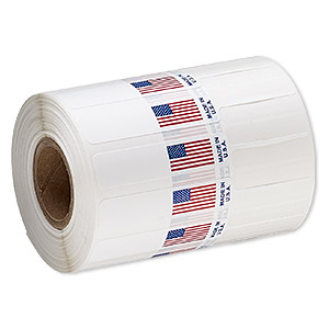 adhesive label, polyester, white / red / blue, 3-1/4 x 1/2 inches unfolded with usa flag and made in usa. sold per pkg of 1,000.