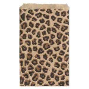 bag, paper, light brown / dark brown / black, 6x4-inch rectangle with leopard print and scalloped top edge. sold per pkg of 100.