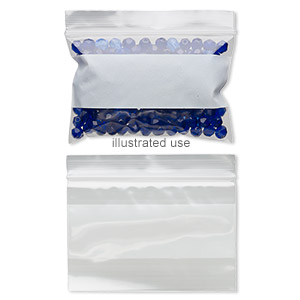 bag, tite-lip™, plastic, clear and white, 3x2-inch side zip with block. sold per pkg of 100.