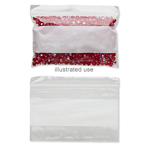 bag, tite-lip™, plastic, clear and white, 5x3-inch side zip with block. sold per pkg of 100.