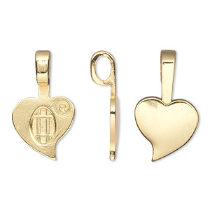 bail, aanraku, glue-on, 18kt gold-plated pewter (zinc-based alloy), 23x13.5mm with 13.5x10mm heart flat base. sold per pkg of 5.