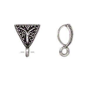 bail, antique silver-plated brass, 13x11x11mm single-sided beaded triangle with closed loop, 5.5mm hole. sold per pkg of 4.