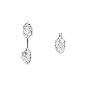 bail, fold-over, silver-plated brass, 22x5mm double leaf with 11mm grip length. sold per pkg of 100.