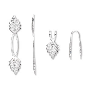bail, fold-over, silver-plated brass, 29x5mm y-style leaf with 14mm grip length. sold per pkg of 100.