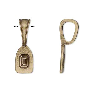 bail, glue-on, antique brass-plated pewter (zinc-based alloy), 26x9mm fluted design with 14x9mm flat base. sold per pkg of 2.