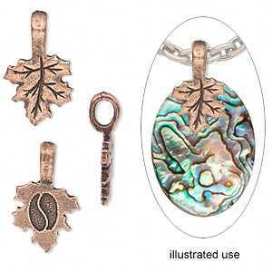bail, glue-on, copper-plated pewter (tin-based alloy), 23x14mm with 14x14mm leaf flat base. sold per pkg of 4.