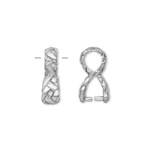 bail, ice-pick, antique silver-plated pewter (tin-based alloy), 16x10mm with weave design, 5mm grip length. sold per pkg of 2.