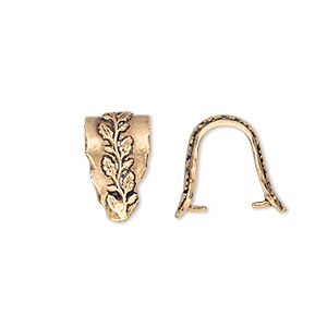 bail, ice-pick, antiqued brass, 15x8mm fancy shield with leafy vine design, 12mm grip length. sold individually.