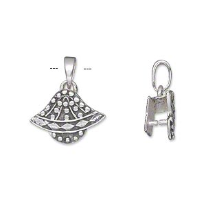 bail, ice-pick, antiqued sterling silver, 17x12mm single-sided fancy beaded bell with 5mm grip length. sold individually.
