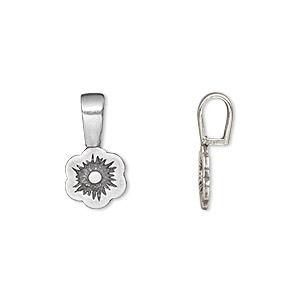 bail, jbb findings, glue-on, antique silver-plated brass, 17x9mm with 9.5x9mm flower flat base. sold per pkg of 2.