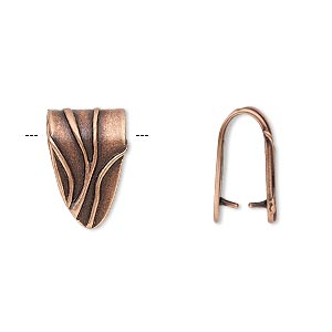 bail, jbb findings, ice-pick, antique copper-plated brass, 15x10mm shield with lines, 11.5mm grip length. sold individually.