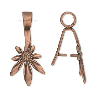 bail, jbb findings, ice-pick, antique copper-plated brass, 25x15.5mm leaf with 12mm grip length. sold individually.