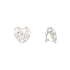 bail, jbb findings, ice-pick, sterling silver, 10x9mm heart with lines, 8mm grip length. sold individually.