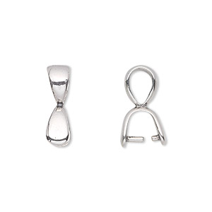 bail, jbb findings, prong style, sterling silver, 17.5x5mm teardrop, 6mm grip length. sold individually.