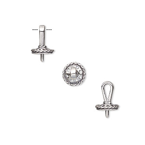 bail, pendant, antiqued sterling silver, 8x6mm with 6mm cup and peg, fits 5-6mm bead. sold per pkg of 2.