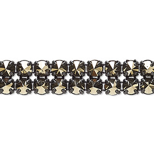 banding, preciosa czech crystal / cotton / black-plated brass, opaque crystal starlight gold and black, 2 rows, 10mm wide with 5mm spike. sold per pkg of 7-3/4 inches, approximately 80 chatons.