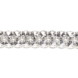 banding, preciosa czech crystal / cotton / silver-plated brass, opaque crystal labrador and white, 2 rows, 10mm wide with 5mm spike. sold per pkg of 7-3/4 inches, approximately 80 chatons.