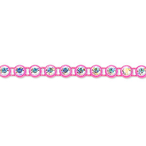 banding, preciosa czech crystal / plastic / cotton, crystal ab and transparent fluorescent pink, 4mm wide with 4mm round. sold per pkg of 1 meter, approximately 200 chatons.