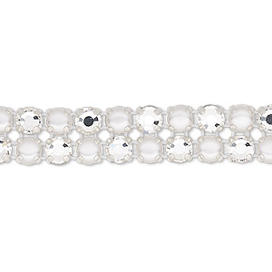 banding, preciosa rose viva 12 czech crystal / glass pearl / cotton cord / silver-plated brass, opaque white and transparent crystal clear, 2 rows, 10mm wide with 4.5mm round. sold per pkg of 10 meters, approximately 2,300 chatons and 2,300 cabochons.
