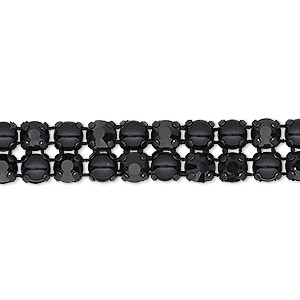 banding, preciosa rose viva 12 czech crystal / glass pearl / cotton cord / black-plated brass, opaque black and jet, 2 rows, 10mm wide with 4.5mm round. sold per pkg of 10 meters, approximately 2,300 chatons and 2,300 cabochons.