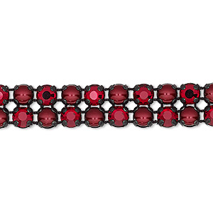 banding, preciosa rose viva 12 czech crystal / glass pearl / cotton cord / black-plated brass, opaque bordeaux / black / translucent siam, 2 rows, 10mm wide with 4.5mm round. sold per pkg of 7-3/4 inches, approximately 40 chatons and 40 cabochons.
