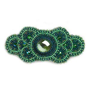 barrette, glass and vinyl, multi-green, 4 x 1-1/2 inch seed-beaded fancy oval. sold individually.