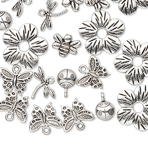 bead / component / charm, antique silver-plated pewter (zinc-based alloy), 9x9mm-23x23mm assorted single- and double-sided insect and flower. sold per pkg of 25.