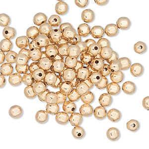bead, 12kt gold-filled, 4mm faceted round with 0.6mm hole. sold per pkg of 100.