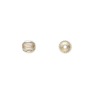 bead, 14kt gold, 6mm corrugated round. sold per pkg of 10.