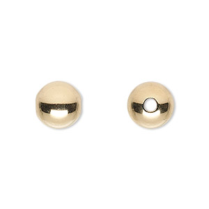 bead, 14kt gold-filled, 10mm seamless smooth round with 2.5mm hole. sold per pkg of 20.