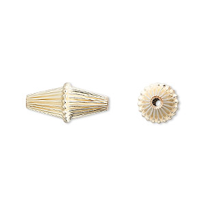 bead, 14kt gold-filled, 17x8mm corrugated double cone. sold per pkg of 10.