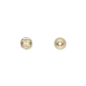 bead, 14kt gold-filled, 6mm corrugated round. sold per pkg of 20.
