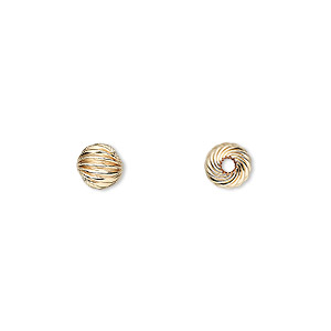 bead, 14kt gold-filled, 6mm twisted corrugated round. sold per pkg of 2.