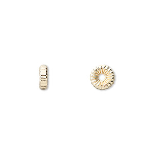 bead, 14kt gold-filled, 7x2.5mm corrugated rondelle. sold per pkg of 4.