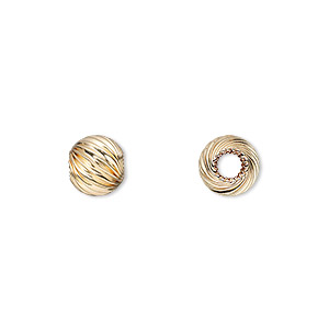 bead, 14kt gold-filled, 8mm twisted corrugated round with 2.5mm hole. sold per pkg of 2.