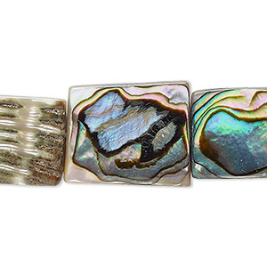bead, abalone shell (natural), 20x15mm flat rectangle, mohs hardness 3-1/2. sold per 16-inch strand.