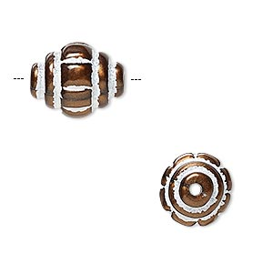bead, acrylic and enamel, bronze and white, 15x12mm corrugated oval with line design. sold per pkg of 40.