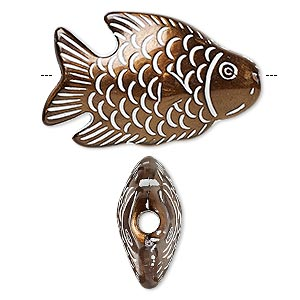 bead, acrylic and enamel, bronze and white, 36x24mm double-sided fish with 3.5mm hole. sold per pkg of 10.