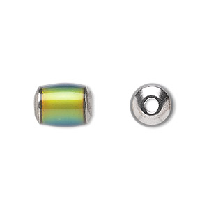 bead, acrylic and imitation rhodium-plated brass, multicolored, 12x9mm color-changing round tube with 2.5mm hole. sold per pkg of 6.