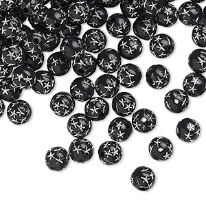 bead, acrylic, black, 8mm round with stars. sold per 50-gram pkg, approximately 160-180 beads.
