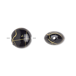 bead, acrylic, black and gold, 12mm puffed flat round with swirls. sold per pkg of 160.