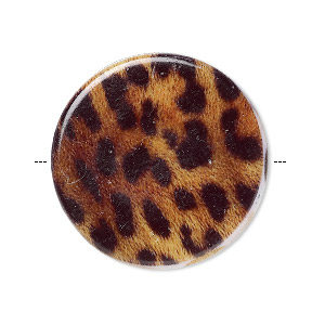 bead, acrylic, black/brown/white, 32mm double-sided flat round with leopard pattern and 1.75mm hole. sold per pkg of 6.