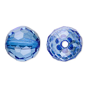 bead, acrylic, blue, 20mm faceted round. sold per 100-gram pkg, approximately 20 beads.